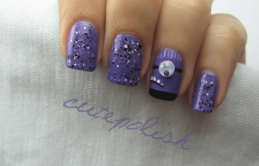 tutorial nail art evil purple minion nails video