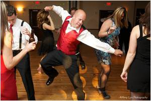 Wedding reception with a man dancing