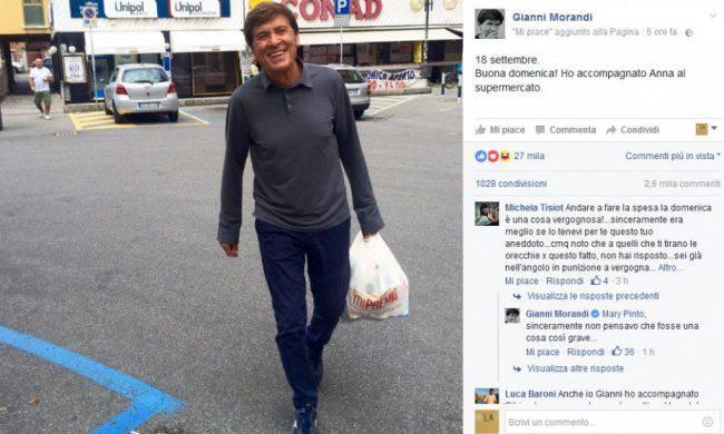 Gianni Morandi fa la spesa di domenica: lapidato dal web, protesta giusta?