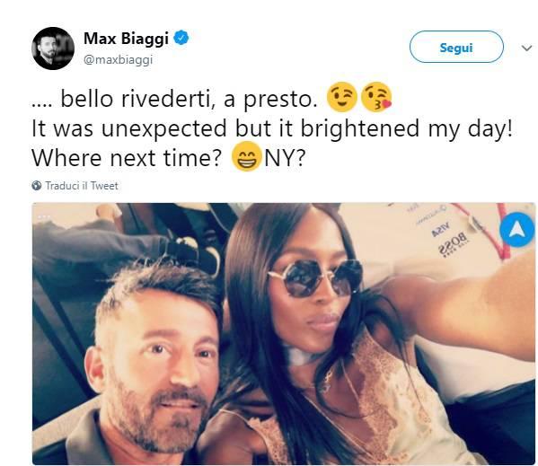 """Max Biaggi a Naomi Campbell: """"Mi hai illuminato la giornata"""""""