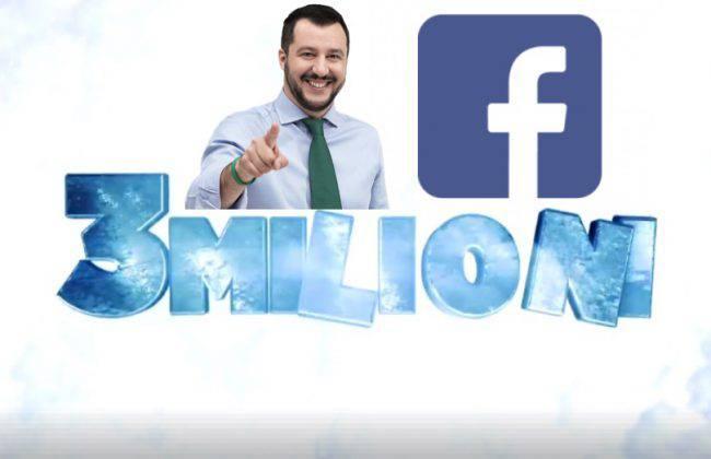 matteo salvini 3 milioni follower su facebook