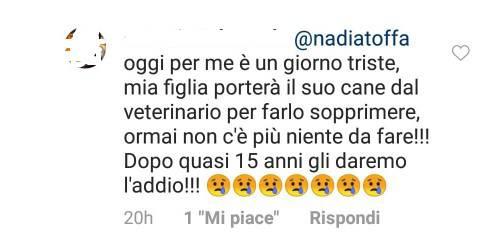 Nadia Toffa, il messaggio triste