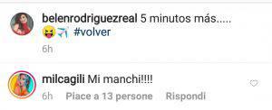 Commento alla foto di Belen Rodriguez su Instagram