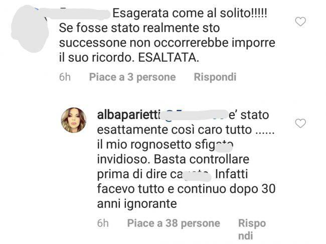 commento al post di Alba Parietti
