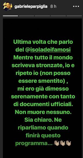 Storia Instagram di Gabriele Parpiglia