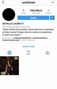 Achille Lauro profilo Instagram