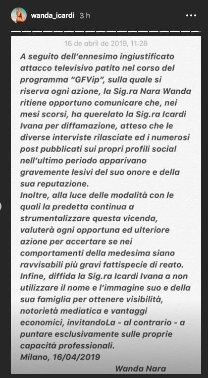 Il messaggio di Wanda Nara sulla questione legata alla cognata Ivana Icardi (fonte Instagram)