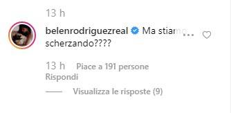 Belen Rodriguez commento Elodie Patrizi