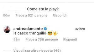 Andrea Damante reazione intervista