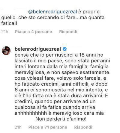 Belen Rodriguez confessione passato