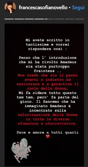 """Francesca Sofia Novello si esprime su quanto accaduto con Amadeus durante la cerimonia di presentazione: """"Mi fa ridere tutto questo..."""""""