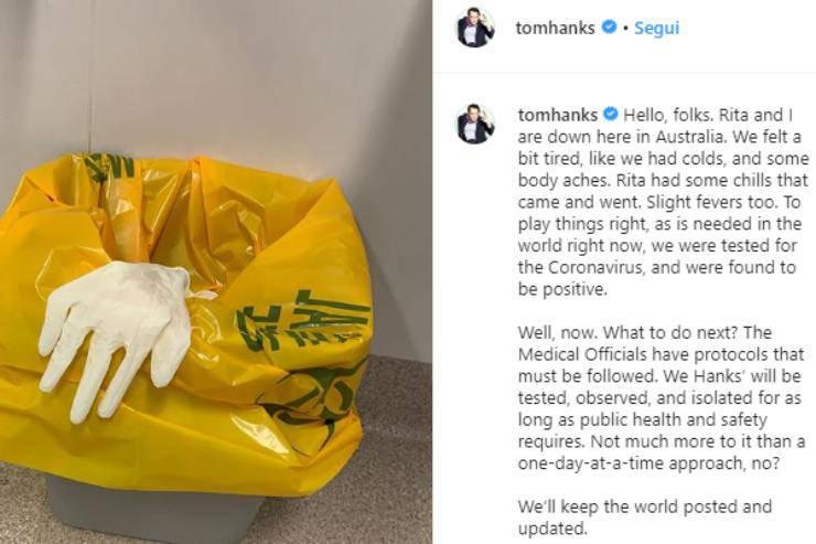 Coronavirus, Tom Hanks e la moglie Rita Wilson positivi al test: l'annuncio social