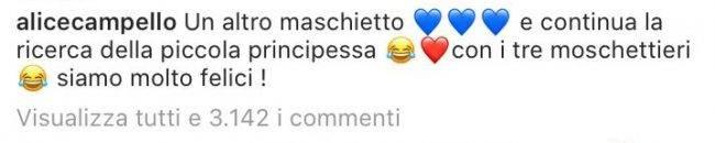 Alice Campello Morata sesso bebé