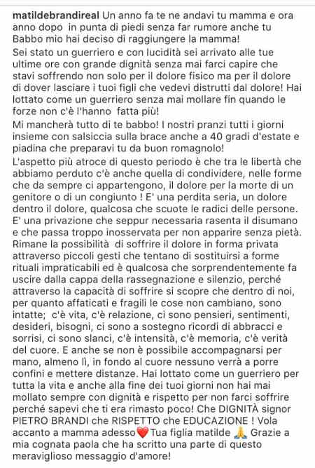 MAtilde Brandi messaggio Instagram