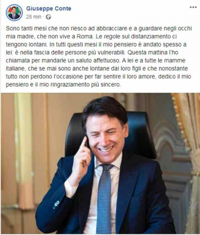 Giuseppe Conte messaggio mamma