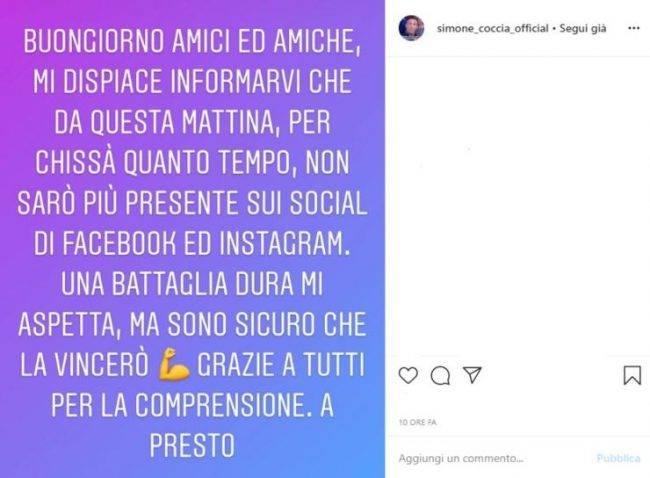 Simone Coccia messggio