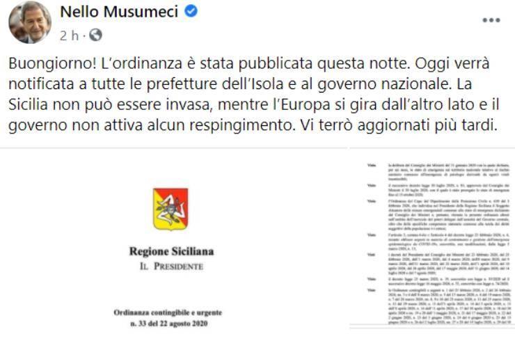 """Migranti, parla il Governatore Musumeci: """"La Sicilia non può essere invasa, tutti via"""""""