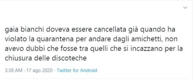Gaia Bianchi polemica