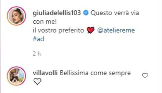 Giulia De Lellis commento