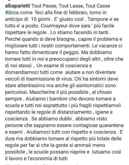 Tamponi a Malpensa, Alba Parietti su Instagram: