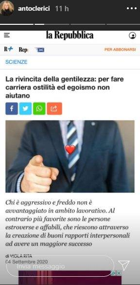 """""""Egoismo ed ostilità sul lavoro"""": la 'frecciatina' social di Antonella Clerici, il commento lascia i fan di stucco, cosa sarà accaduto..."""