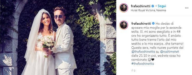 Francesco Facchinetti annuncio