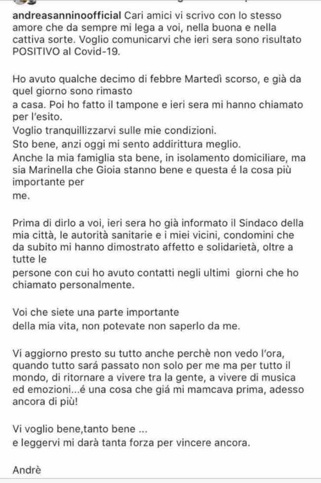 Andrea Sannino Coronavirus