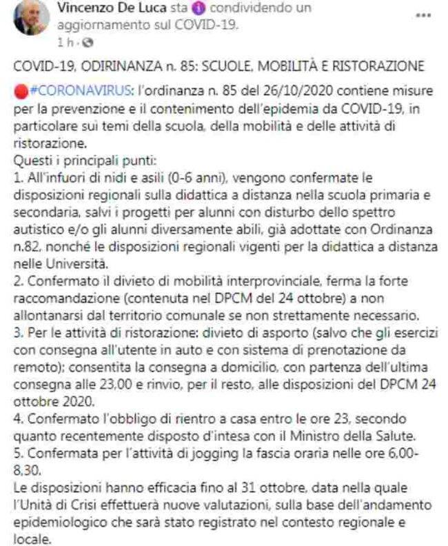 ordinanza De Luca