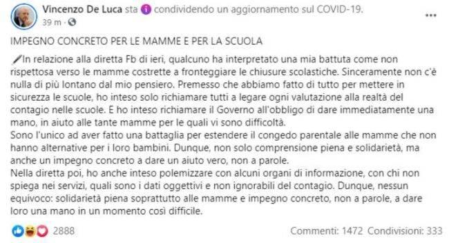 De Luca polemiche