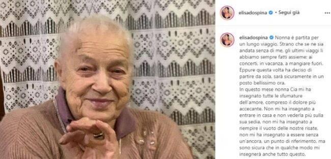 """Tragico lutto per Elisa D'Ospina: """"Ciao amore mio"""", il messaggio straziante"""