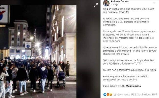 sindaco di Bari Antonio De Caro Facebook