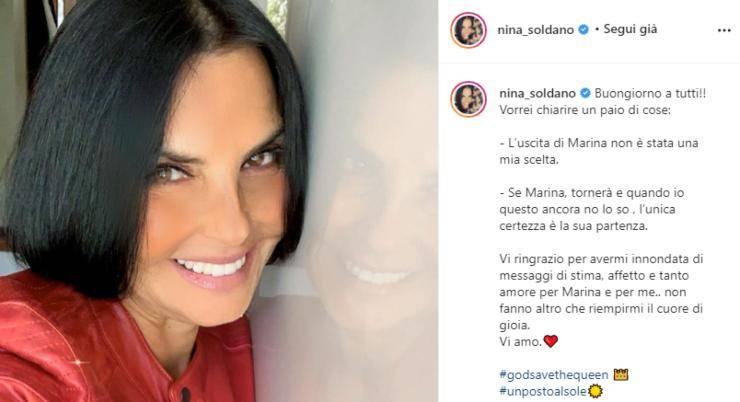 Nina Soldano rompe il silenzio dopo la partenza del suo personaggio