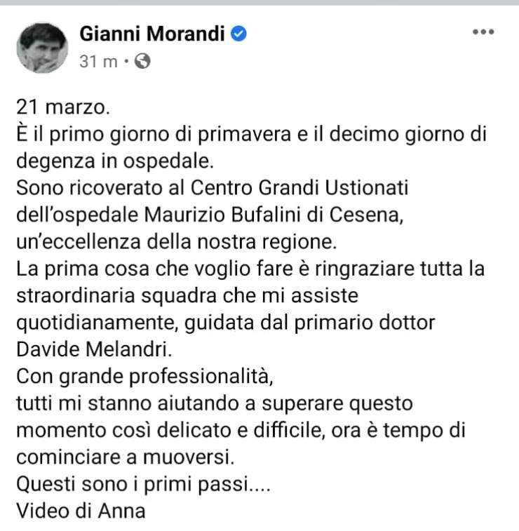 """Gianni Morandi dopo l'incidente torna sui social: """"Decimo giorno di degenza in ospedale"""", le sue parole"""