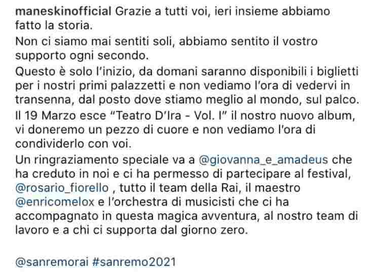 Maneskin dopo Sanremo 2021