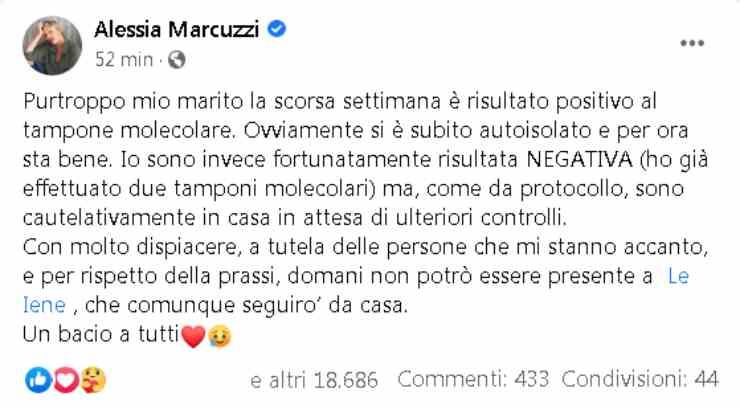 Alessia Marcuzzi marito Covid