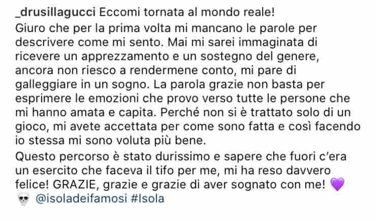 Drusilla Gucci dopo L'Isola dei Famosi
