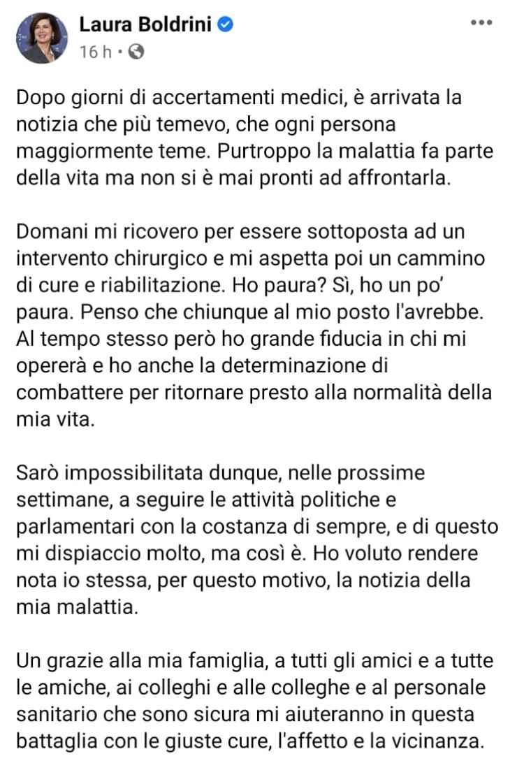 Laura Boldrini messaggio