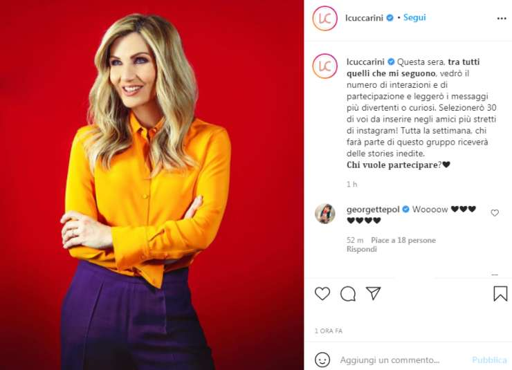 Lorella Cuccarini sorpresa