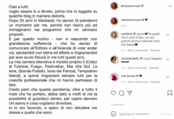 Alessia Marcuzzi addio Mediaset