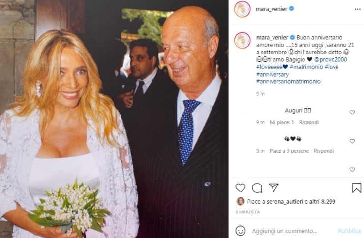 Mara Venier scatto matrimonio