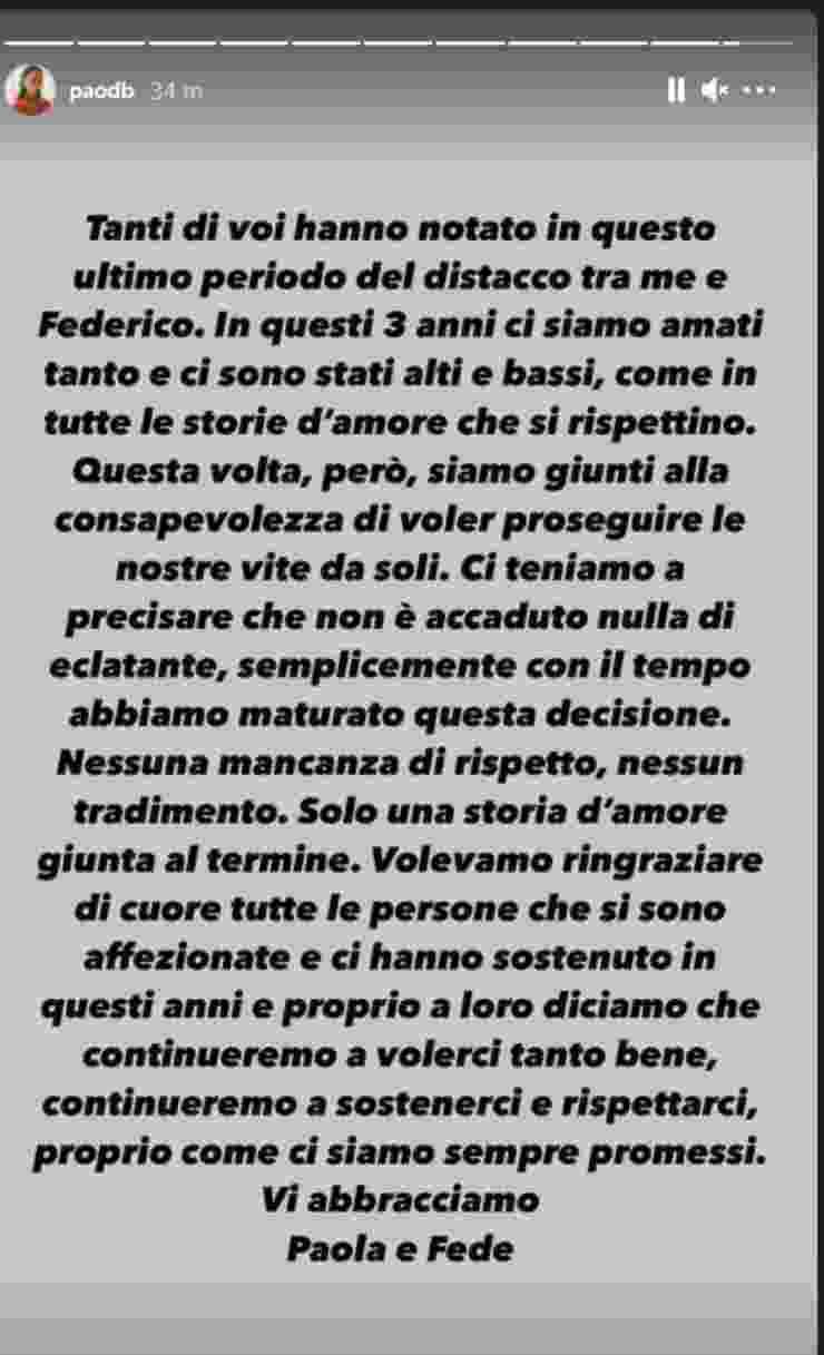 Paola Di Benedetto Federico lasciati
