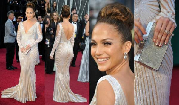 Jennifer Lopez Oscar 2012 Jennifer Lopez acconciatura notte degli Oscar 2012: chignon alto   VIDEO
