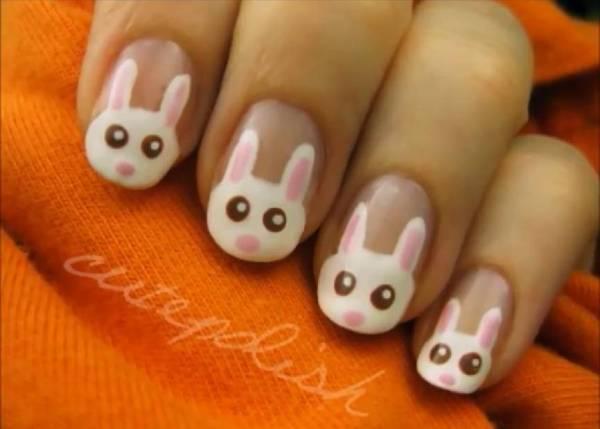 Nail art coniglietto di Pasqua Nail art tutorial: il coniglietto per la Pasqua   VIDEO